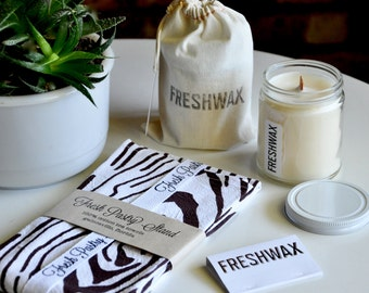 Gift Set: Candle + Tea Towel, FRESHWAX Natural Scented Soy Candle Of Your Choice and Brown Bark Tea Towel