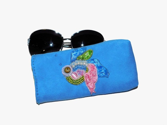 Bead Embroidered Eyeglasses Case with Shibori Silk Fish and Freshwater Pearls for Reading Glasses or Sunglasses
