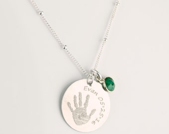 Meaningful Mothers day gift for mom, Your Child's Actual Handprint or Footprint Necklace, Personalized Handprint Necklace, Precious Prints