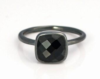 Black Onyx Ring - Gemstone Ring - Stacking Ring - Oxidized silver Ring - cushion cut Ring - bezel Set Ring - black onyx jewelry