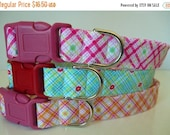 """Sale 40% Off Girly Dog Collar-""""Sweet Home"""" in Turquoise, Pink or Orange Floral Plaid-NO EXTRA CHARGE for colored buckles"""