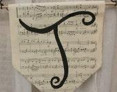 Hand Lettered Sheet Music Banners - Vintage Sheet Music Banner - Alphabet Hand Painted Banner - Music Decor - Sheet Music Art