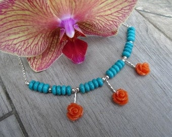 Rose necklace.  Turquoise, resin and sterling silver.