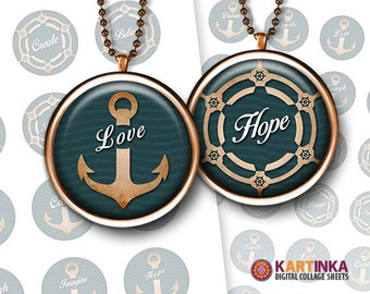 1 inch (25mm) 1.5 inch Circle image Nautica LOVE DREAM HOPE Printable Download for Round pendants Bezel trays Glass cabochon Bottle caps diy