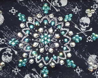 Black Skull Bandana With Turquoise and Clear Swarovski Crystals