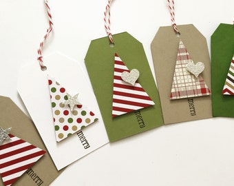 Christmas Gift Tags - Christmas Tree - dimensional sparkle gift tags - 15 tags