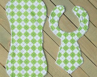 Closeout Green Argyle Necktie Bib/Burpie Set