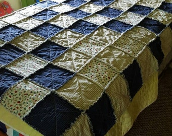 Primitive Rag Quilt Throw with checkered fabric & birdhouse print all 100% cotton