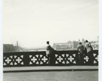 Taking in River View from Bridge, Vintage Snapshot Photo (511433)