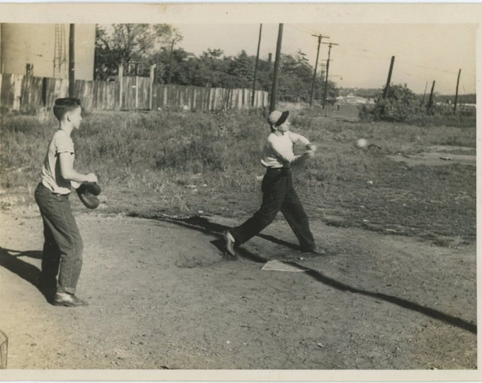 Swinging for the Fences: Sandlot Ball Game c1940s-50s Vintage Snapshot Photo [510424]
