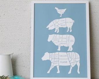Butcher Print -  butcher chart   - butcher diagram - Kitchen Print - foodie gift - cuts of meat print - large kitchen print - A3 kitchen art