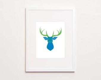 Deer Skull Print - Letterpress Print