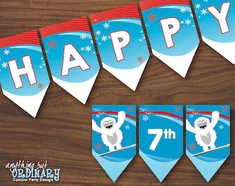 Abominable Snowman Birthday Banner, Winter Wonderland Yeti Banner, INSTANT DOWNLOAD printable digital file