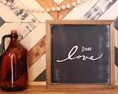 Just love 12x12 framed black and white home decor, wall art. Farmhouse style. Rustic sign.