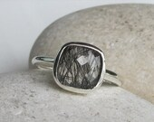 SALE Tourmalated Quartz Ring- Stack Ring- Gemstone Ring- Square Ring- Quartz Ring- Black Rutile Ring- Rings for Her