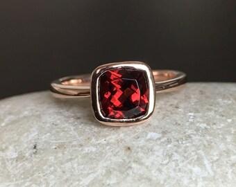 Garnet Engagement Ring- Rose Gold Ring- Promise Ring- Cushion Cut Ring- Bridal Ring- January Birthstone Ring- Anniversary Ring- Wedding Ring