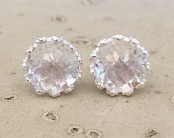 Faceted White Quartz Stud- White Topaz Earring- Classic Bridal Stud Earring- Clear Wedding Earring- Round Engagement Earring