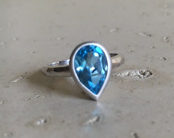 Swiss Blue Topaz Ring- Pear Shape Engagement Ring- Blue Promise Ring- December Birthstone Ring- Simple Promise Ring- Sterling Silver Ring