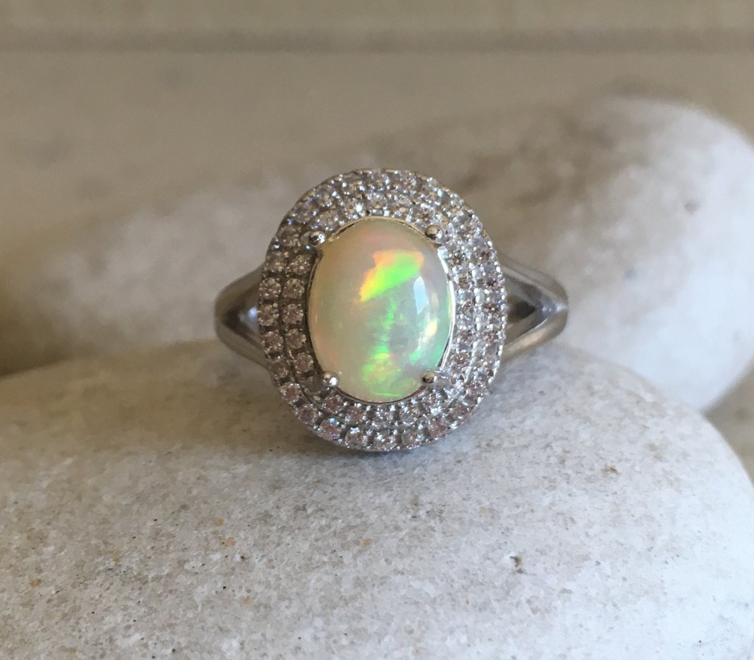 halo opal ring promise ring wedding ring by belesas
