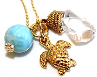 Gold Turtle Necklace Caribbean Larimar Necklace Herkimer Diamond Necklace Charm Necklace Nature Necklace Quartz Necklace Sea Turtle Jewelry