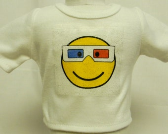 Happy Face Emotioncon With 3D Glasses Theme Silver Glitter Transfer T-Shirt For 16 or 18 Inch Dolls Like The American Girl Or Bitty Baby