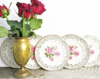 Vintage China Dish - Pretty Pink Roses - Gold Rim - Set of 6