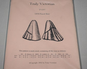 Truly Victorian TV297 1898 Flared Skirt Costume Pattern Multi-sized XS-3XL New