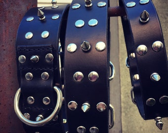 Leather Dog Collar Genuine Leather with Spikes and Rivets  Can be customized with your choice of dye color