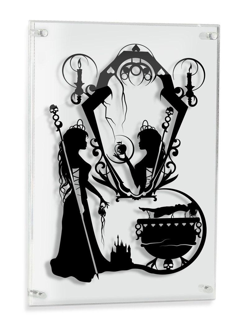 Snow White Evil Queen Silhouette Hand Cut Paper Craft Fairy