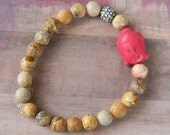 Small Pink Happy Buddha Beaded Stretch Bracelet with Stone-Like Beads