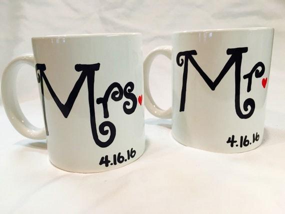 Wedding Gift Coffee Mugs : Wedding Gift, Mr and Mrs Hand Painted Wedding Coffee Mug Set with Date ...