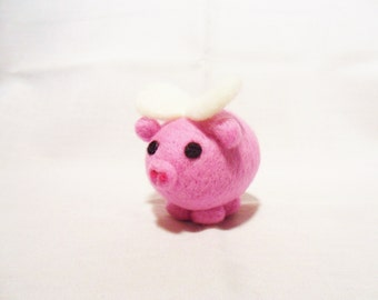 Needle Felted Pig -  miniature flying pig figure - 100% merino wool - Pig With Attitude - wool felt pig - pocket pig