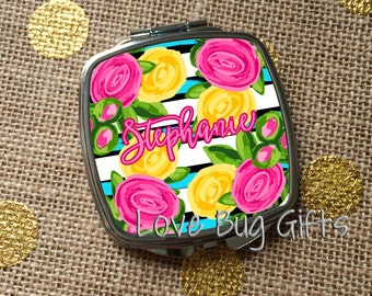 Stripe and floral pocket/compact mirror * Personalized * Name