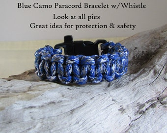 Blue Camo Paracord Bracelet - Great Idea for Protection & Safety - Choose Size and Buckle with Whistle or Not 550 Mil Spec Type III Paracord