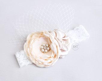 Beige and Ivory Net Lace Headband- girl, child, toddler, pearls, net, rhinestones
