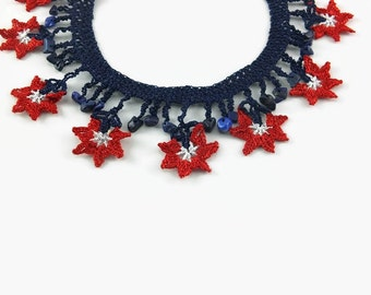 Crochet Necklace Blue Red White Flower Necklace Crochet Necklace Floral Jewelry, crochet Jewelry, Boho Chic Statement Necklace Textile Jewel