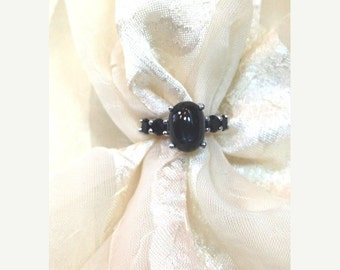 20% OFF Back2SchoolSale Black Star Sapphire Ring or Goth Engagement Ring Handmade by NorthCoastCottage Jewelry