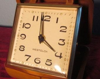 Vintage Folding Westclox Traveling Alarm Clock