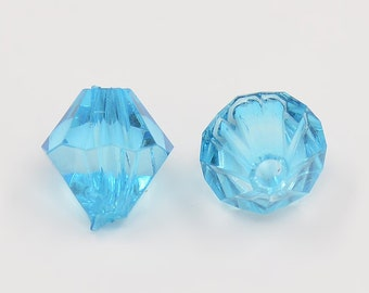 100 pieces 4mm Cyan Faceted Bicone Acrylic Spacer Beads