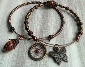 Adjustable Boho Dreamcatcher Bracelet/Bangle Set, copper, with butterfly charm