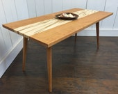 QUICK SHIP-Roxbury mid century modern coffee table featuring solid cherry & maple blend.