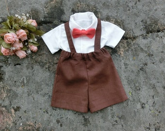 Thanksgiving outfit baby boy.Holiday outfit.  Baby boy suspender outfit. Baby boy shorts set. Family photo outfits. Special occasion.