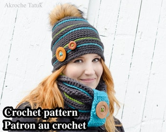 Igloo kit crochet pattern by Akroche Tatuk. English and french. Crochet hat and crochet cowl for winter (PDF ONLY)