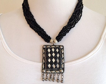 Vintage Tribal Indian Beaded Boho Necklace with Mirror Work Pendent
