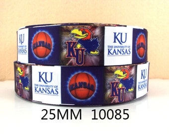 "1"" University of Kansas Jayhawks Ribbon - 3 yards"