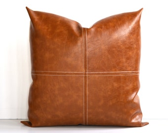 Decorative Faux Leather Pillow Cover Paneled Caramel-Color Brown Decorative Topstitch 14 x 24, 12x 18, 16 x 16 Square, Lumbar, Many Sizes