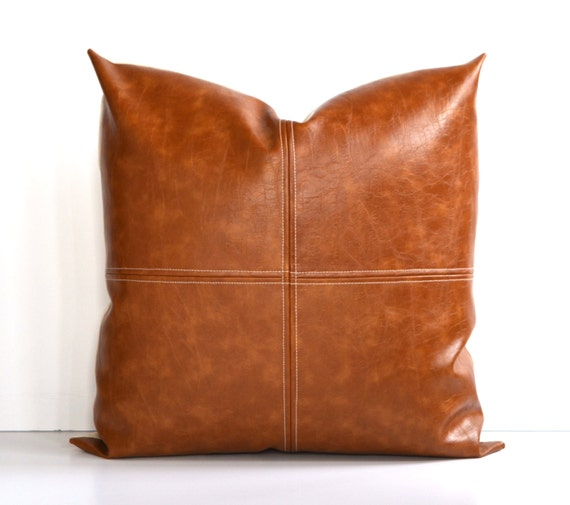 Throw Pillows Faux Leather : Decorative Faux Leather Pillow Cover Paneled by TheEAShop on Etsy