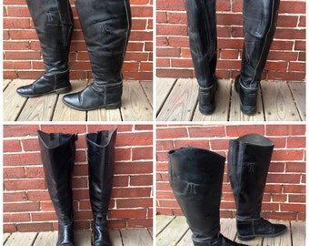 70s leather knee high riding boots sz 8 black grunge biker boots USA  vtg