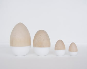 White Color Dipped Eggs, Easter Decor, Easter Eggs, Wooden Eggs by Willful goods with intention
