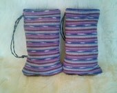 Handmade Purple Padded Pouch / Drawstring Stash Bag